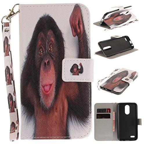 Per LG K10 2017 Cover , Per LG K10 2017 Custodia , Custodia Book Style Design Portafoglio per LG K10 2017, COZY HUT® Custodia per LG K10 2017 in Artificiale Pelle flip cover Case Cover con supporto di stand+carte slot+chiusura magnetica - scimmia
