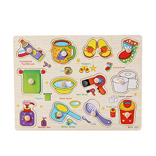 Naisicatar Holzpuzzle Lernspielzeug Holzpuzzles SpielzeugPädagogische Puzzle Lernspielzeug Staffelei für Baby Kleinkinder Tägliche Notwendigkeiten Typ