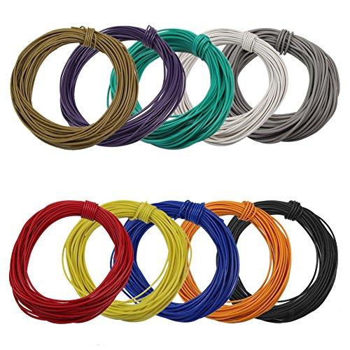 Evemodel 100m Kabel / Litze 0.12mm² 1A zehn Farben Neu