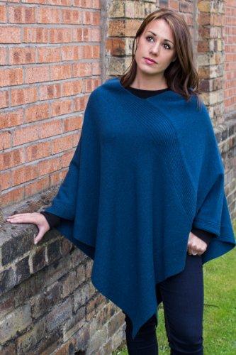 Damen Designer 100% Kaschmir Poncho - Handgefertigt in Schottland bei Love Cashmere Schwarz