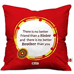 indibni Rakhi Gifts For Brother/Sister Traditional Orange Cushion Cover (18X18)