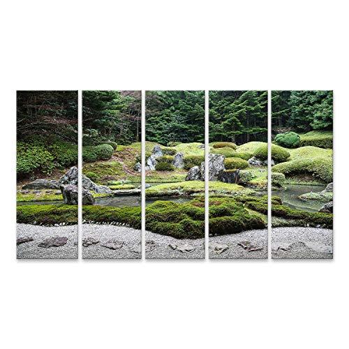 Garten-teich-canvas Art (bilderfelix® Bild auf Leinwand Ruhiger japanischer Zen-Garten mit Teich, Felsen, Kies und Moos Wandbild Leinwandbild Kunstdruck Poster 170x80cm - 5 Teile XXL)