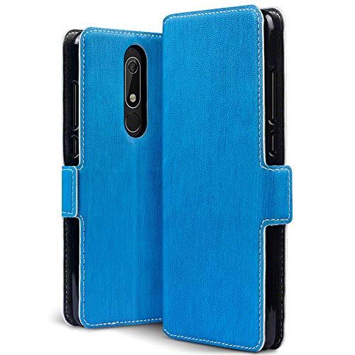 TERRAPIN, Kompatibel mit Nokia 5.1 Hülle, Leder Tasche Case Hülle im Bookstyle mit Standfunktion Kartenfächer - Hellblau