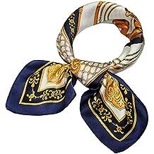 9f34b1af238 Evedaily - Foulard Écharpe Carré En Soie Imprimé Élégant Mode Silk Square  Scarves Pour Femme 53cm