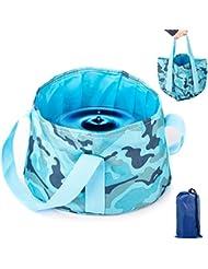 Overmont cubo de agua barreño plegable portátil 15L multifuncional con estuche de transporte para camping Acampar senderismo, pesca y viaje (azul/naranja/rosa/verde)+ Overmont Paño de microfibra