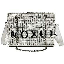 kawei Mujer Mode Chanel Bolsos moxin gehä Kelt con Cadena – Bandolera Bolsa Blanco y Negro
