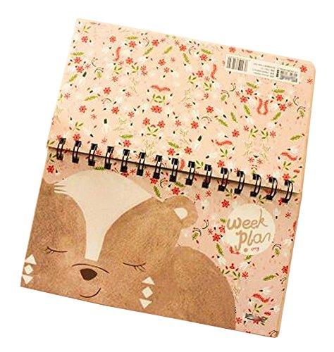 Juego de 2 calendario encantador de la bobina Planificador semanal del plan Cuaderno del libro Brown animal