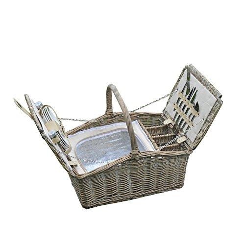 Outsunny Geschenkkorb Weidenkorb Picknickkorb 4Personen Outdoor Tagen Out Garten Camping W/Zwei Top Öffnungen & Full Picknick-Set