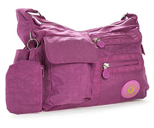 Big Handbag Shop di dimensioni medie borsa a tracolla Unisex in plastica Pouch Viola (Orchid Purple)