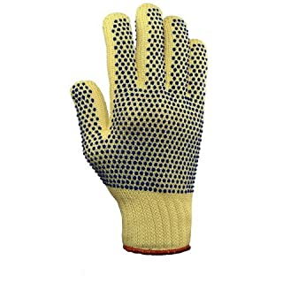 Ansell Size 10 Yellow GoldKnit® Dotted Style Gunn Cut Medium Weight Cut Resistant Gloves With Knit Wrist, Kevlar® Lined And PVC Dots Coating