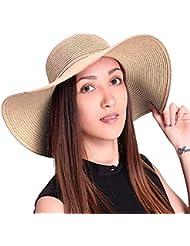 TININNA Plegable Sombrero Verano Grande Ancho de la Playa del Borde del sombrero de Sun de vacaciones ocasional de viajes a Cap Sombreros de la Paja Elegantes para las Mujeres-Cachi 1#