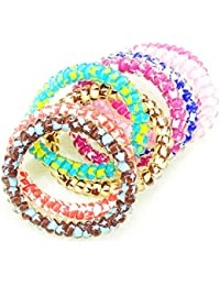 High Quality Transparent Multicolor Small Spiral Ponytail Holder Hair Rubber Band For Girls And Women's (Set Of...
