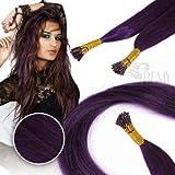 RemyHaar.eu - Bunte Remy Echthaar Strähnen Farbige Strähnchen I-Tip 0,5g Farbeffekte Haarverlängerung - Lila, 10 Strähnen