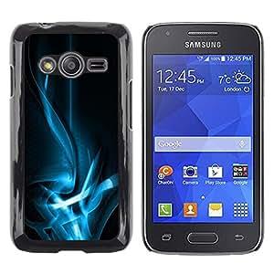 schwer Beschützer Prämie Slim Dünn Schutz Hülle Tasche Slim Case Cover Armor PC Aluminium Rugge Samsung Galaxy Ace 4 G313 SM-G313F -Wavy Bright Blue Lights -