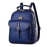 DEERWORD Damen Rucksackhandtaschen Schultertaschen Schulrucksack Tagesrucksack Laptoptasche Leder Blau V2