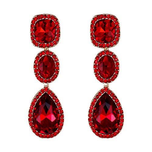 EVER FAITH Orecchini Rhinestone Cristallo festa moda Sposa Goccia aureole Orecchini pendenti Rosso Oro-fondo