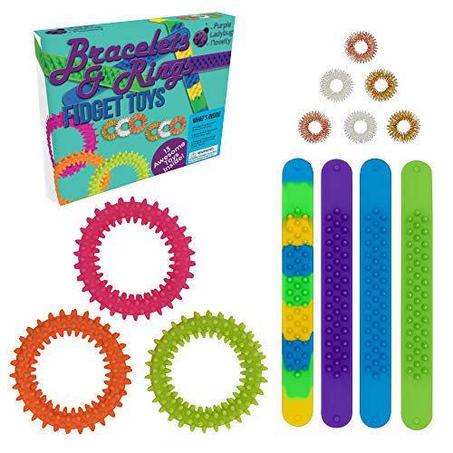 Mixed Value Pack of Fidget Bracelets & Rings! 13 Sensory Toys for Kids: 4 Slap Bands, 3 Hedgehog Bracelets, & 6 Fidget Rings | Fiddle Toys for Stress & Anxiety Relief, Gift Toys for Boys Ages 4 - 16