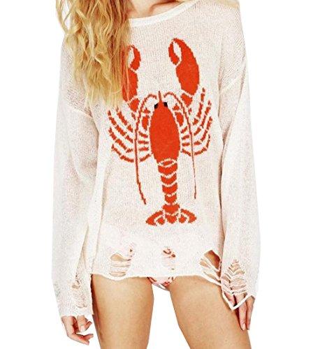 3/4 Sleeve Wool Pullover (EKU FASHION Damen Sweatshirt Gr. S, weiß)
