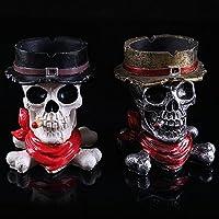 K&C casa carattere ornamenti del cranio della resina portacenere scheletro decorazioni di Halloween Accessori White