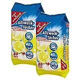 Feuchte Reinigungstücher Antibakteriell in Spenderverpackung 80 Stück - 2er Pack (Inhalt 2 x 80 Stück) - Mit frischem Zitronenduft