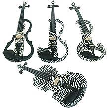 Aliyes legno violino elettrico 4/4Advanced intermedio elettrico silenzioso violino Full kit (Zebra), ALSDDS-1305