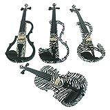 Aliyes Bois Violon électrique Taille complète 4/4Advanced intermédiaire Electric Silencieux pour violon (Zèbre kit) ALDSZA-1302
