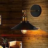 LaxBa Wandlampe Modern Vintage E27 Wandleuchte für Schlafzimmer Wohnzimmer Esstisch Wandleuchten Einzelne schwarze Treppe Passage Terrasse Restaurant & Bar Schlafzimmer Bett antike Bügeleisen Wandleuchten