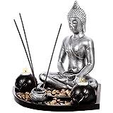 Coffret ZEN Statuette Bouddha H 36cm sur un plateau en bois avec photophores, porte-encens, cailloux etc...