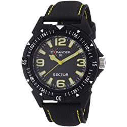 Sector Men's Quartz Watch with Black Dial Analogue Display and Black PU Strap R3251197004