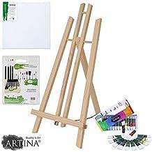 Artina® Set pittura piccoli artisti 29 unità: cavalletto pittorico da