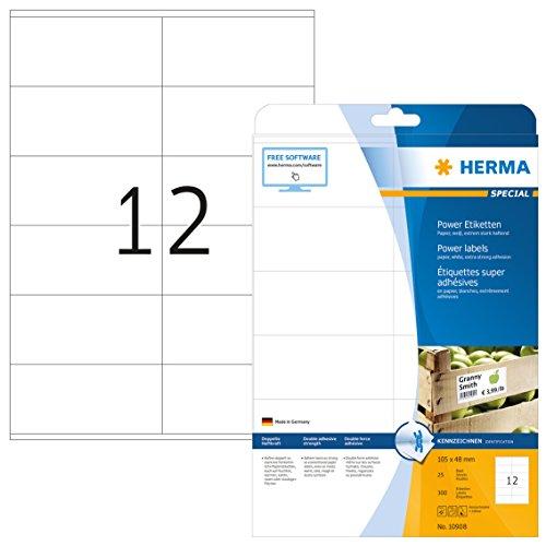Herma 10908 Universal Etiketten extrem stark haftend (105 x 48 mm) weiß, 300 Power Etiketten, 25 Blatt DIN A4 Papier matt, bedruckbar, selbstklebend -