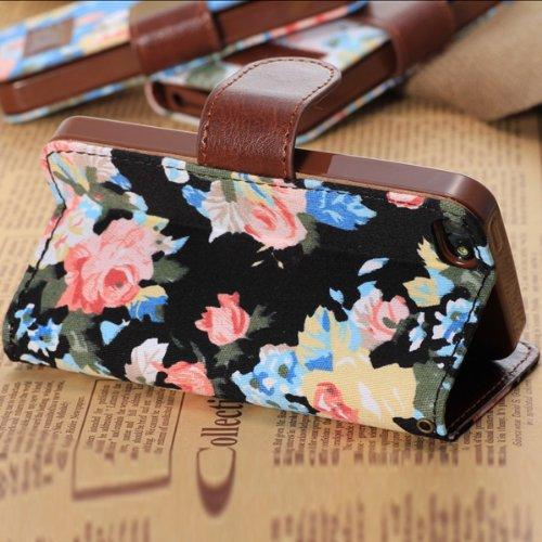 Flower Design PU Case Stand en cuir avec porte-cartes pour l'iPhone 5C bleu