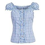 Almsach Damen Trachten-Mode Trachtenbluse Carmen traditionell geschnitten Gr.32-50 in verschiedenen Farben, Größe:46, Farbe:Hellblau