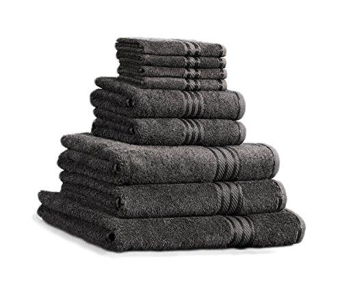 Restmor Knightsbridge 9-Teiliges Handtuch-Set aus 100% 500gsm ägyptischer Baumwolle Charcoal Grau