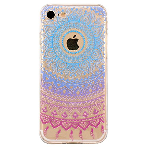 iPhone 7 Plus Case / iPhone 8 Plus Case, Walmark Beautiful Clear TPU Soft Case Rubber Silicone Skin Cover for iPhone 7 Plus / iPhone 8 Plus 5.5 inch - Blue Purple Tribal Mandala