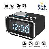 FlexDin K2 Radiowecker Digitaler Wecker mit FM Radio | Dual-Alarm | 2 USB-Ladeanschluss(2.1A+1.1A) | Snooze-Funktion | 5-stufige Helligkeit | Innenthermometer | LCD-Anzeige | 12/24 Stunden (Schwarz)
