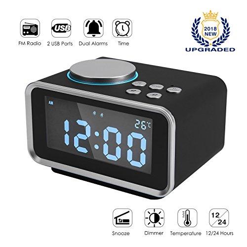 FlexDin K2 Radiowecker Digitaler Wecker mit FM Radio | Dual-Alarm | 2 USB-Ladeanschluss(2.1A+1.1A) | Snooze-Funktion | 5-stufige Helligkeit | Innenthermometer | LCD-Anzeige | 12/24 Stunden - Cd-player-wecker Für Mädchen