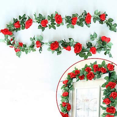 Xqi wangpu Künstliche Blumen 5 Zweig, der europäische Art-Rosen-Wand-Blume, rot Wedding ist (Der Mittelstücke Rote Wedding)