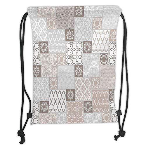 Fashion Printed Drawstring Backpacks Bags,Arabian Decor,Oriental Motif Pastel Patchwork Pattern with Filigree Ornaments Illustration Art,White Beige Grey Soft Satin,5 Liter Capacity,Adjustable Str Baby Gap Patchwork