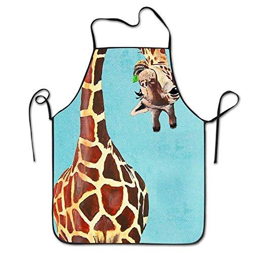 ute Giraffe Naughty Canvas Professional Bib Apron for Women Men Adults Waterproof Natural ()