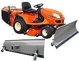 BBT-Europa - Pala quitanieves universal con ruedas para tractor o cortacésped, 150 x 40 cm, eje individual, color gris