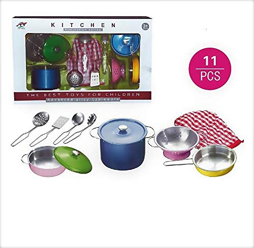 Pretend Play Lovely Childrens Simulated Kitchen Cooking Toy Set Drop Resistant Stainless Steel Pans Pots Tableware Toy 8 Pieces Set For Children Exquisite Craftsmanship;