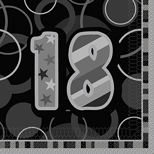 BLING Party Decorations And Tableware For 18th Birthday In BLACK SILVER Glitz Napkins
