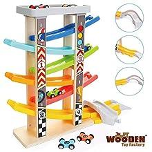The Wooden Toy Factory - Mega Pista per Macchinine Click Clack in Legno Set con 6 Macchine – Include Area Parcheggio – Senza Montaggio – Sicuro e Ecologico - Idea Regalo per Bambini e Bambine