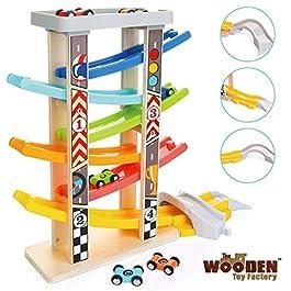 The Wooden Toy Factory Pista per Macchinine Click Clack in Legno Set con 6 Macchine – Include Area Parcheggio – Senza Montaggio – Sicuro e Ecologico – Idea Regalo per Bambini e Bambine
