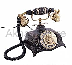 Akhandstore Table Brass Telephone Square Carved Antique Finish