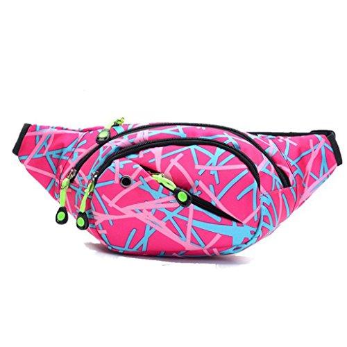 Bauchtasche Hüfttasche ,LMMV Outdoor Leinwand Hip Bag Sling Rucksack Schulterrucksack (Pink)