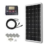 HQST Solaranlage Basic-Starter Bausatz mit 100 Watt 12 Volt Monokristallin Solarmodul, SolarKabeln und 12V PWM SolarLaderegler