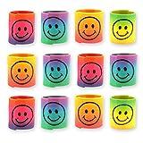 12x Spirale Spielzeug f/ für Kinder-Geburtstag Jungen und Mädchen / Mitgebsel / Kindergeburtstag Gastgeschenke / Smiley Regenbogen Spiralen Paket von Party Pack