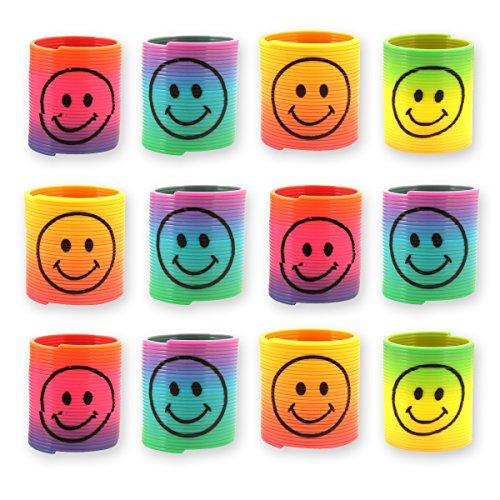 12x Spirale Spielzeug f/ für Kinder-Geburtstag Jungen und Mädchen / Mitgebsel / Kindergeburtstag Gastgeschenke / Smiley Regenbogen Spiralen Paket von Party PackTM (Geburtstag Party Mädchen Kleine)